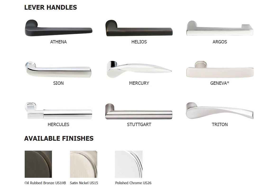 Lock handles modern brass