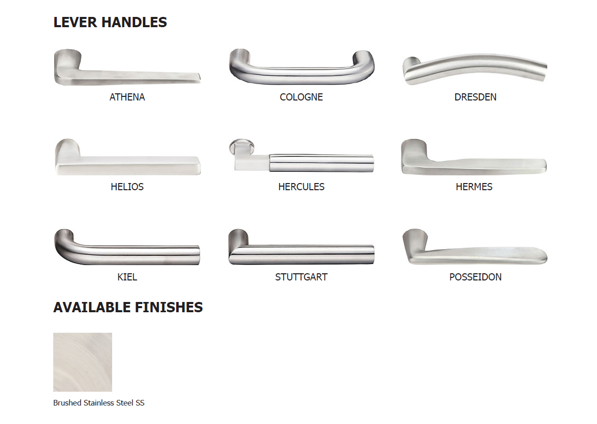 Lock handles stainless steel