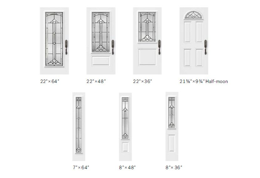 Cathedrale glass size options