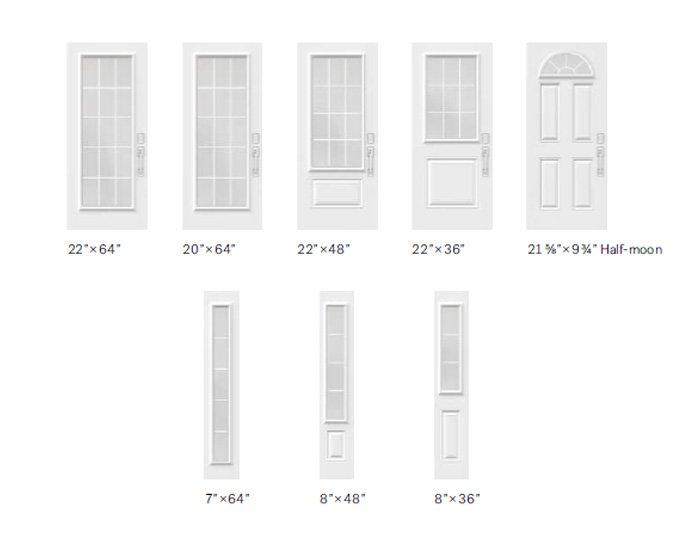 Distinction glass size options