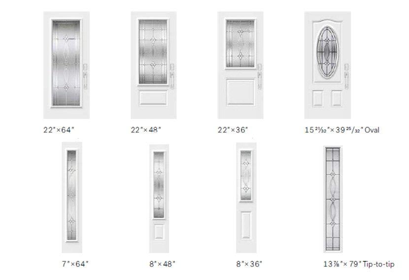 Evangeline II glass size options