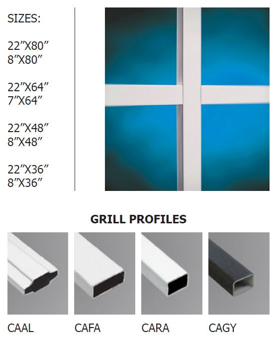 Contemporary doorglass grills