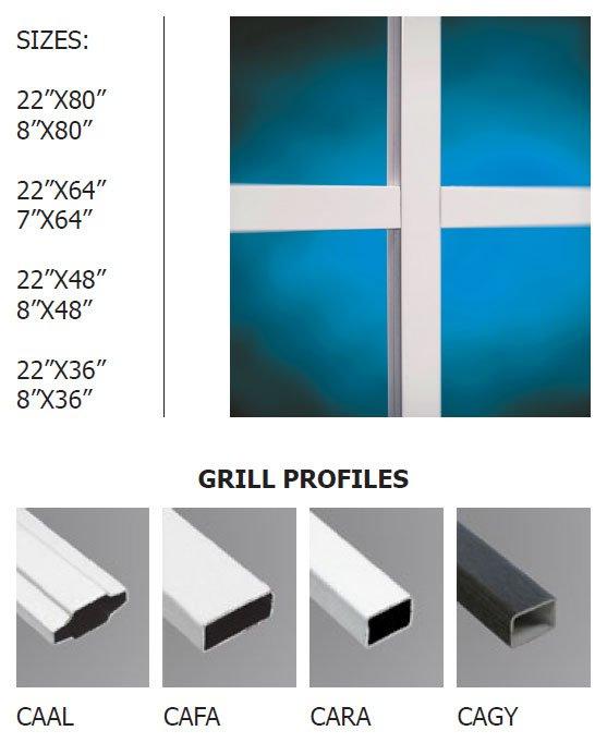 Contemporary doorglass grills