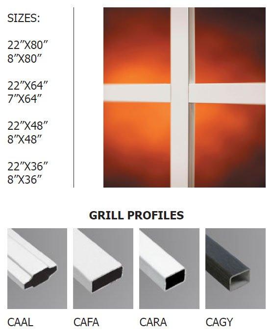 Standard doorglass grills