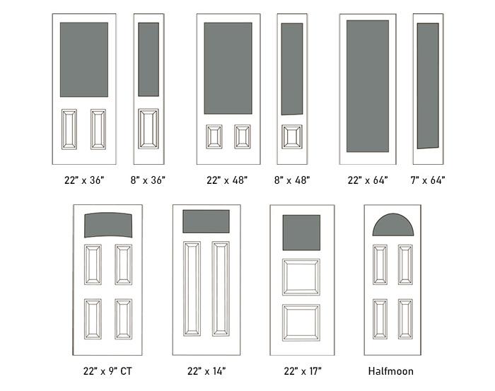 Kimberley glass size options