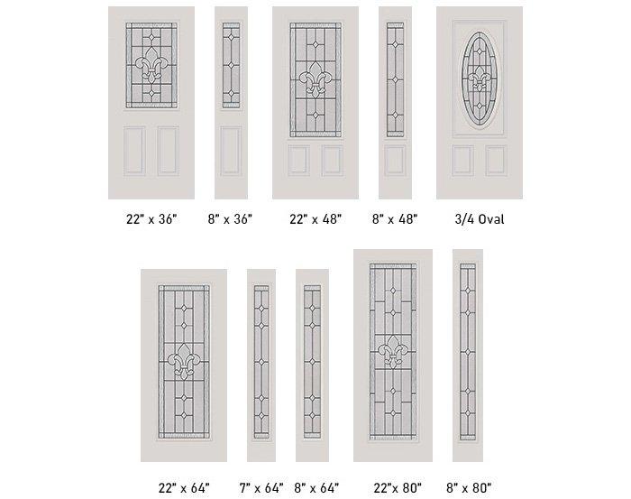 Carrollton glass size options