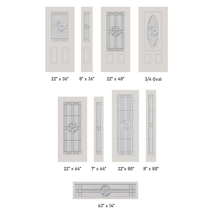 Elegant Star glass size options