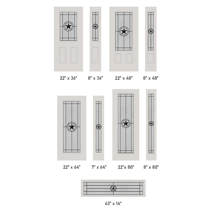 Elegant Star Wrought Iron glass size options
