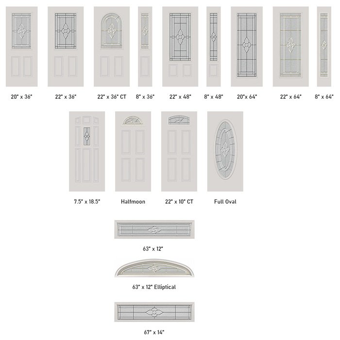 Nouveau glass size options