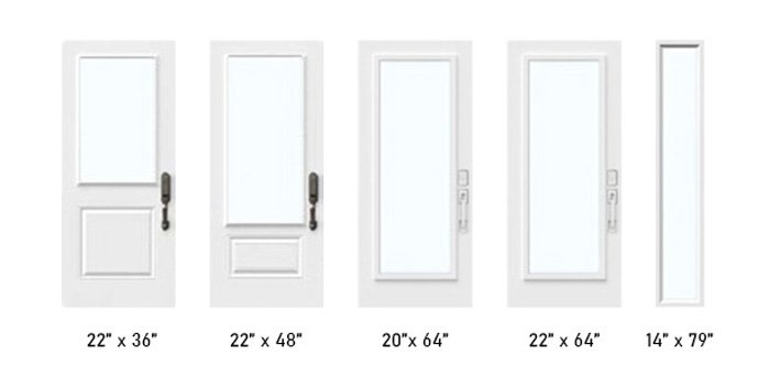 Satin glass size options