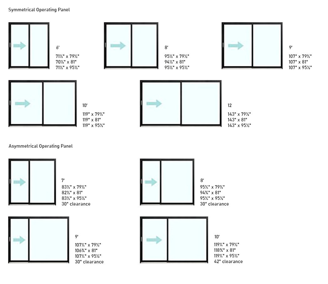 Loft Aluminum Patio Door sizes