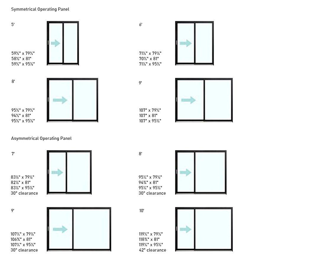 Urbania Aluminum Patio Door sizes