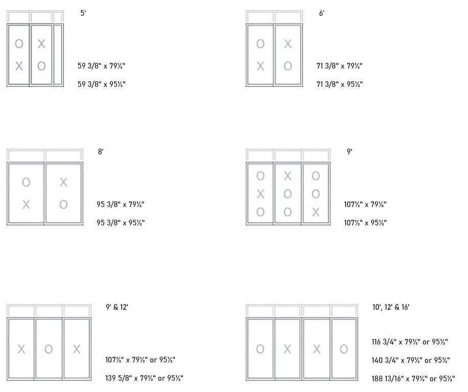 370 PVC Patio Door sizes