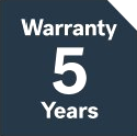 5 years warranty on hardware