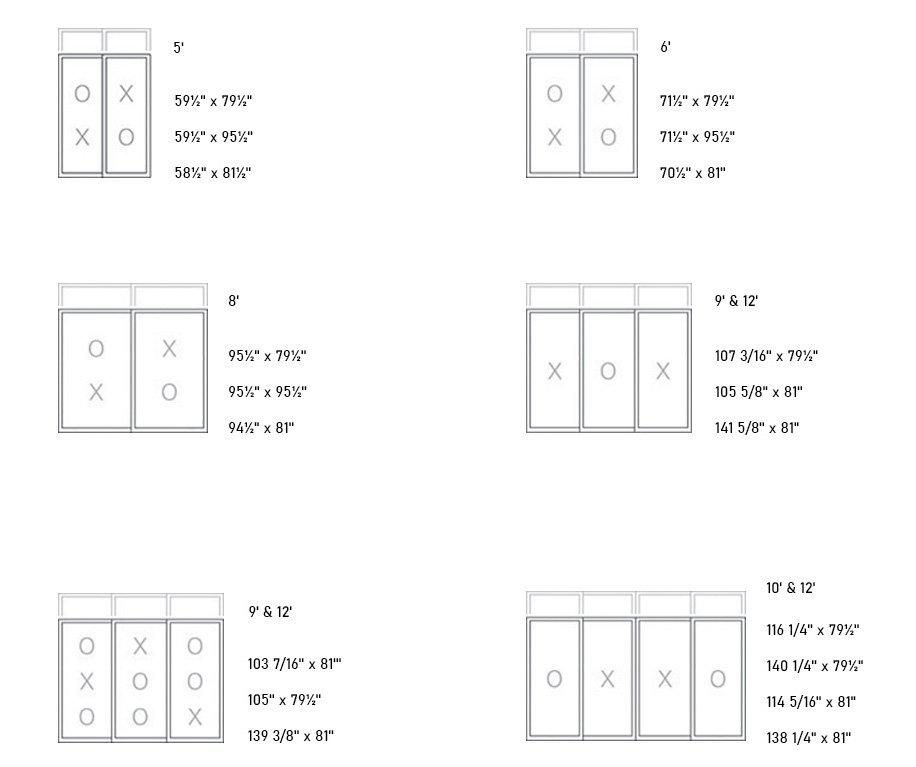 550 Welded PVC Patio Door sizes
