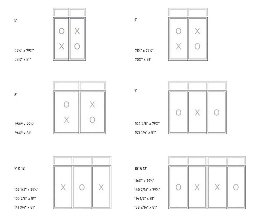 630 PVC Patio Door sizes