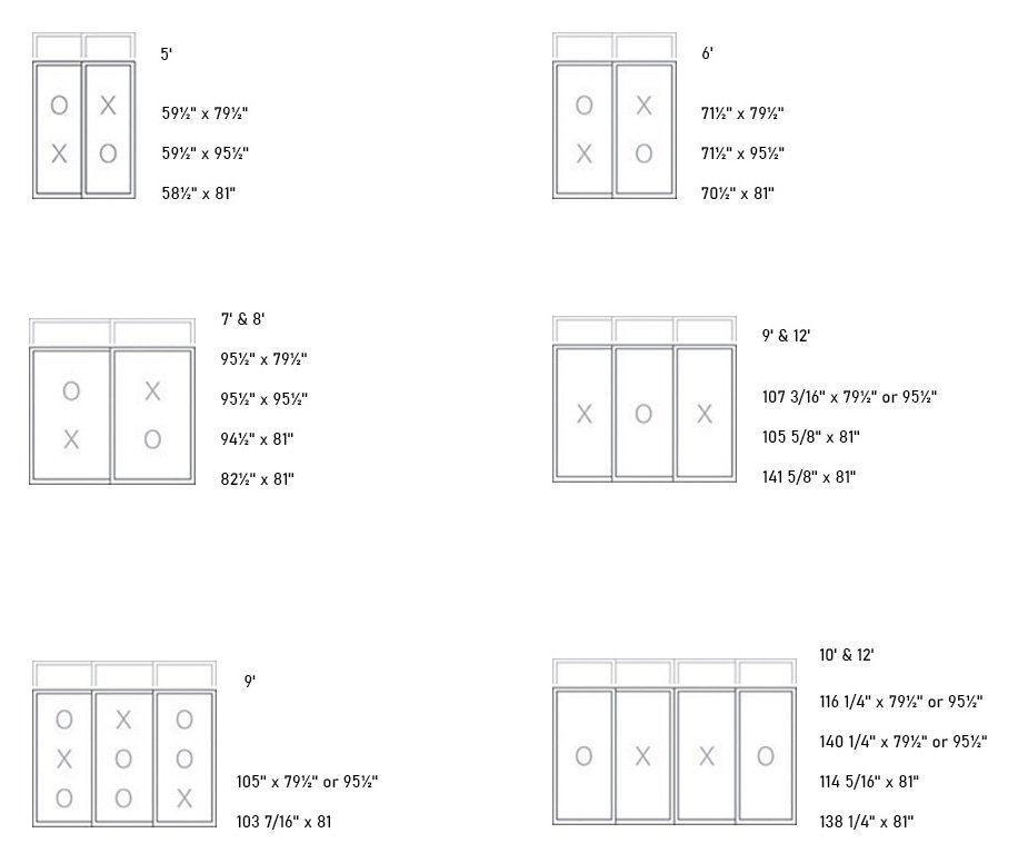 Element (Hybrid, PVC/Aluminum) Patio Door sizes