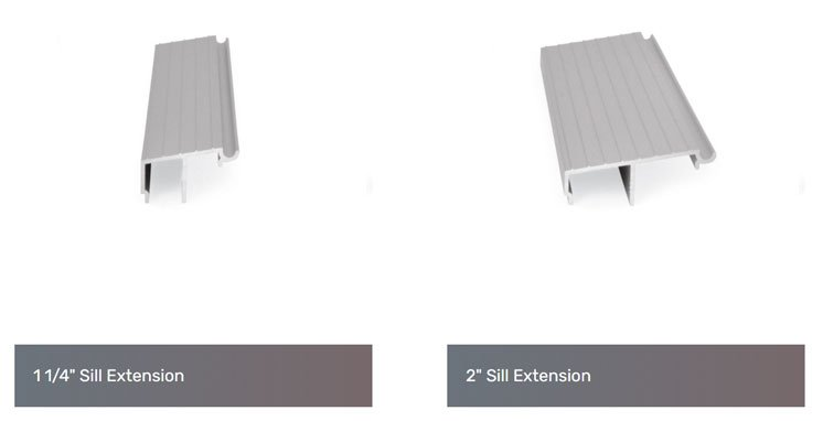 The Pacific patio door Sill Extension types